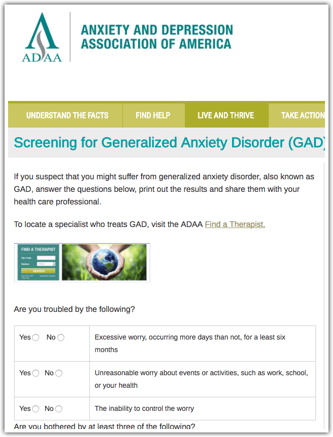 Generalized Anxiety Disorder Test: ADAA